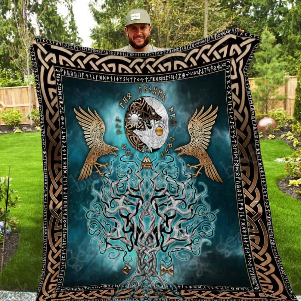 viking raven and wolf symbol all over printed quilt 5