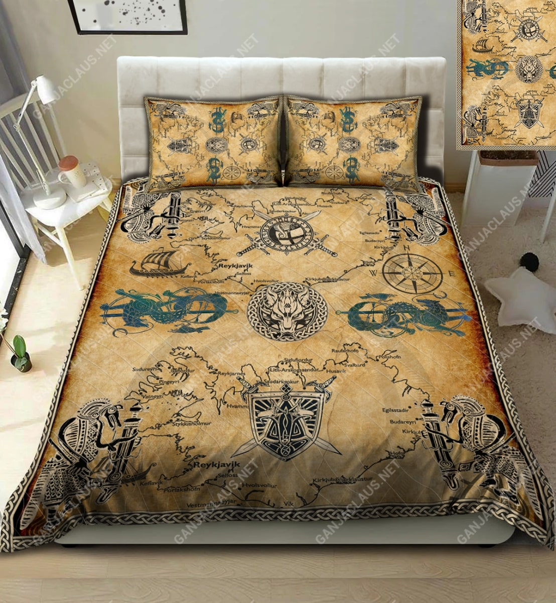 viking symbol full printing bedding set 2