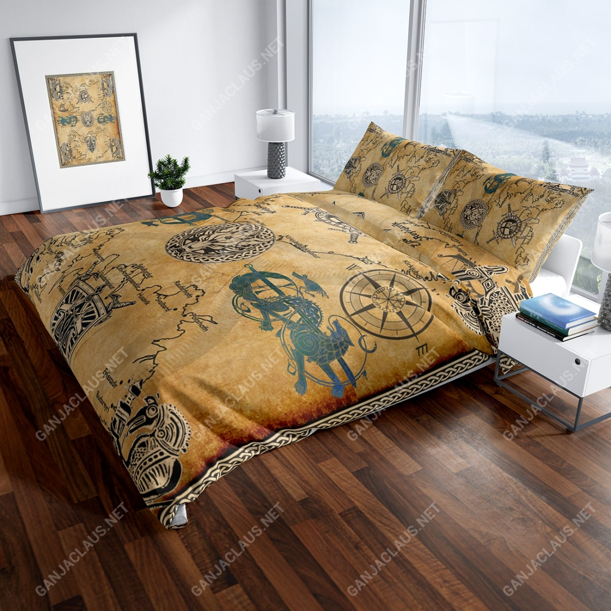 viking symbol full printing bedding set 4