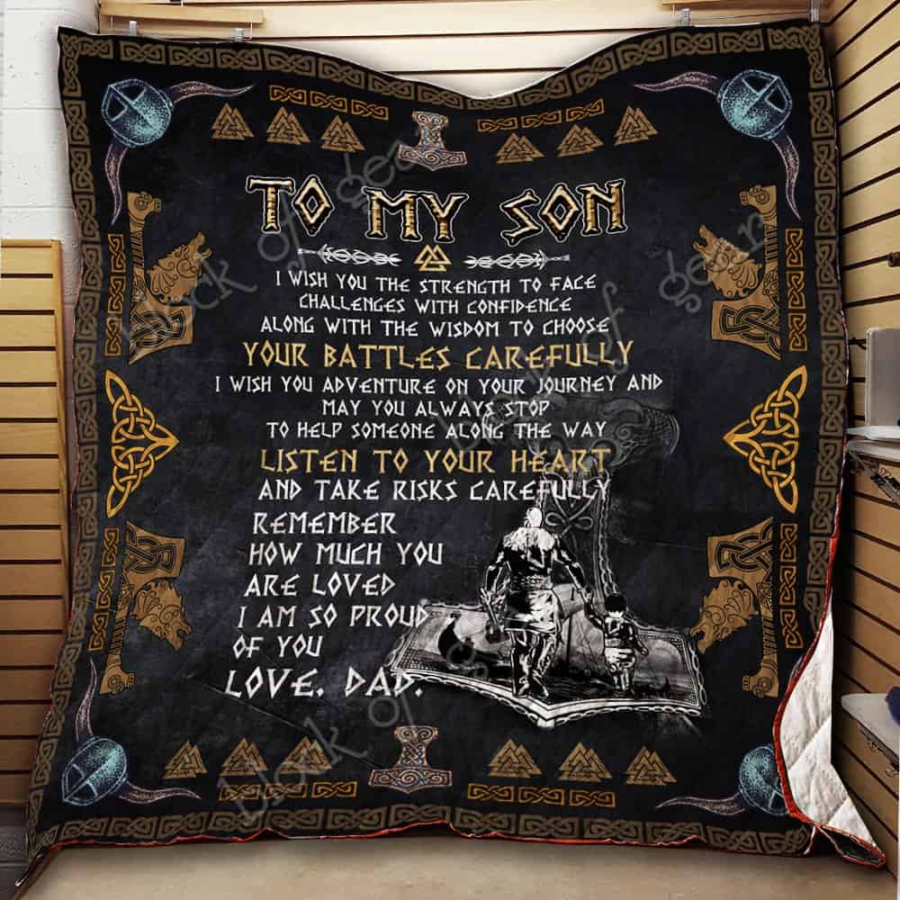viking to my son listen to your heart love dad all over printed quilt 2
