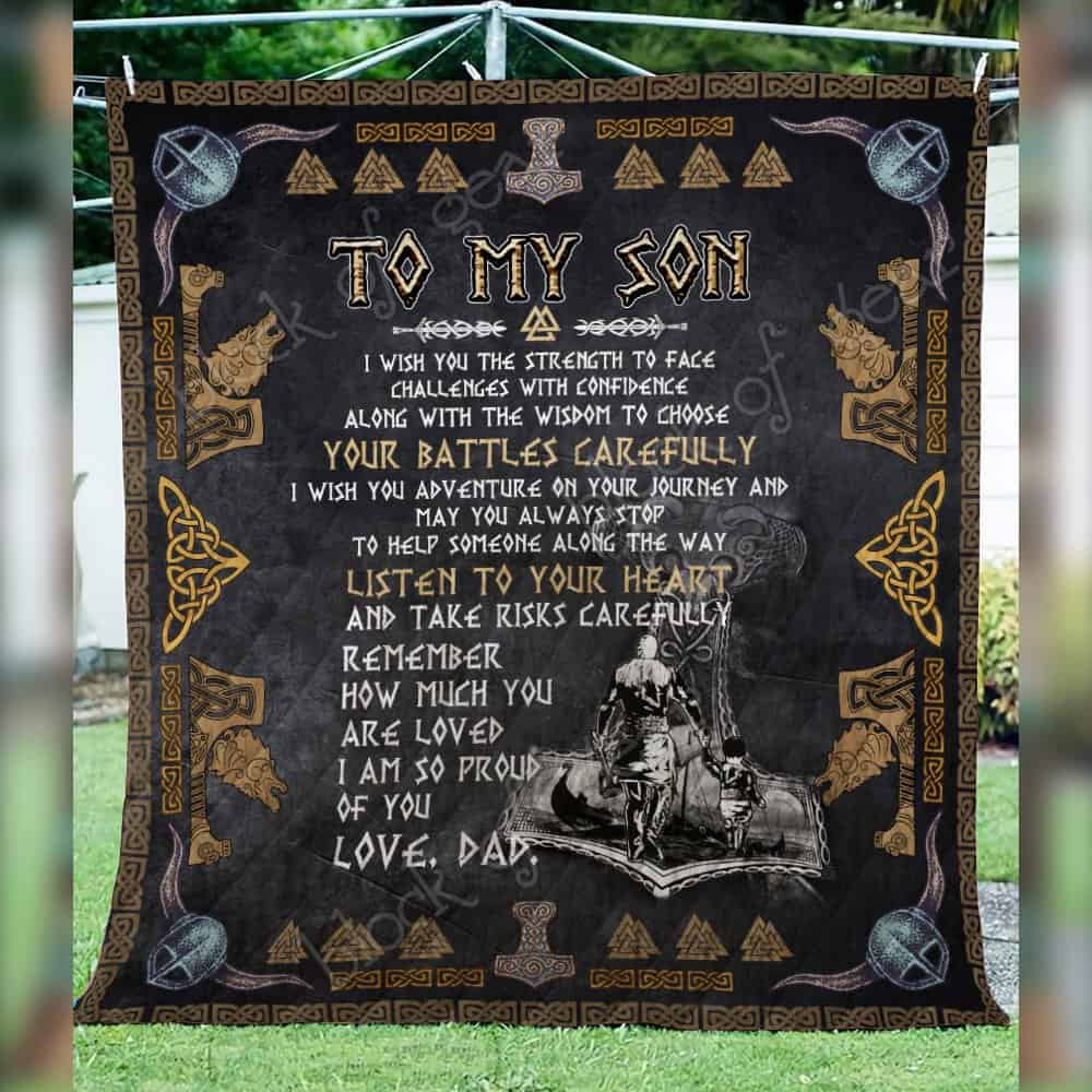 viking to my son listen to your heart love dad all over printed quilt 3