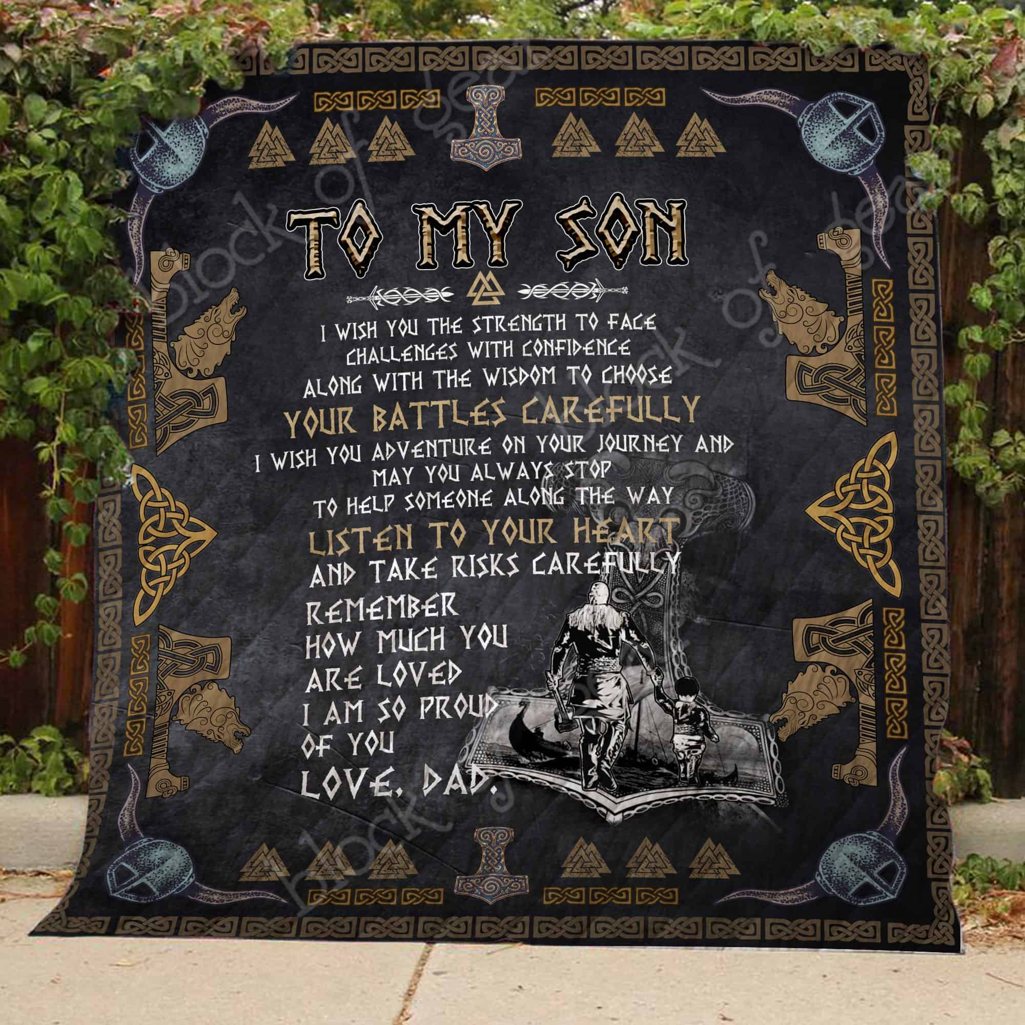 viking to my son listen to your heart love dad all over printed quilt 4