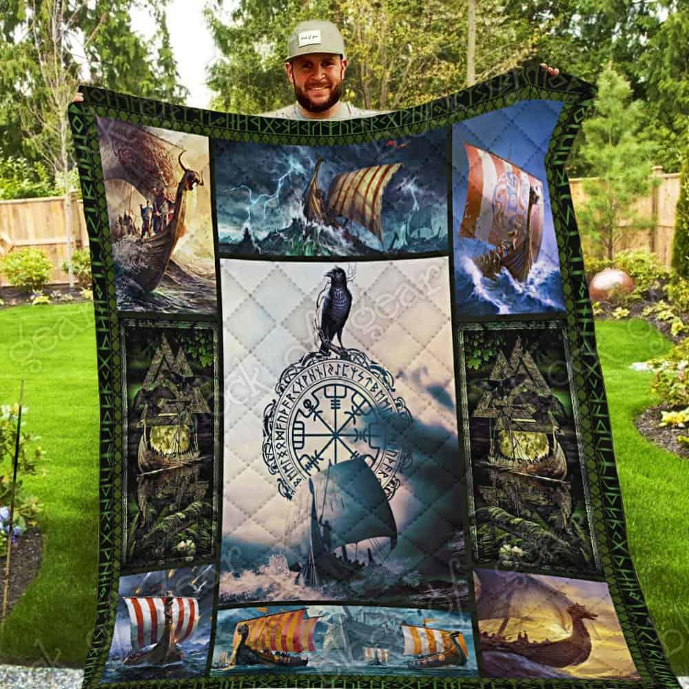 viking vegvisir ship all over print quilt 3
