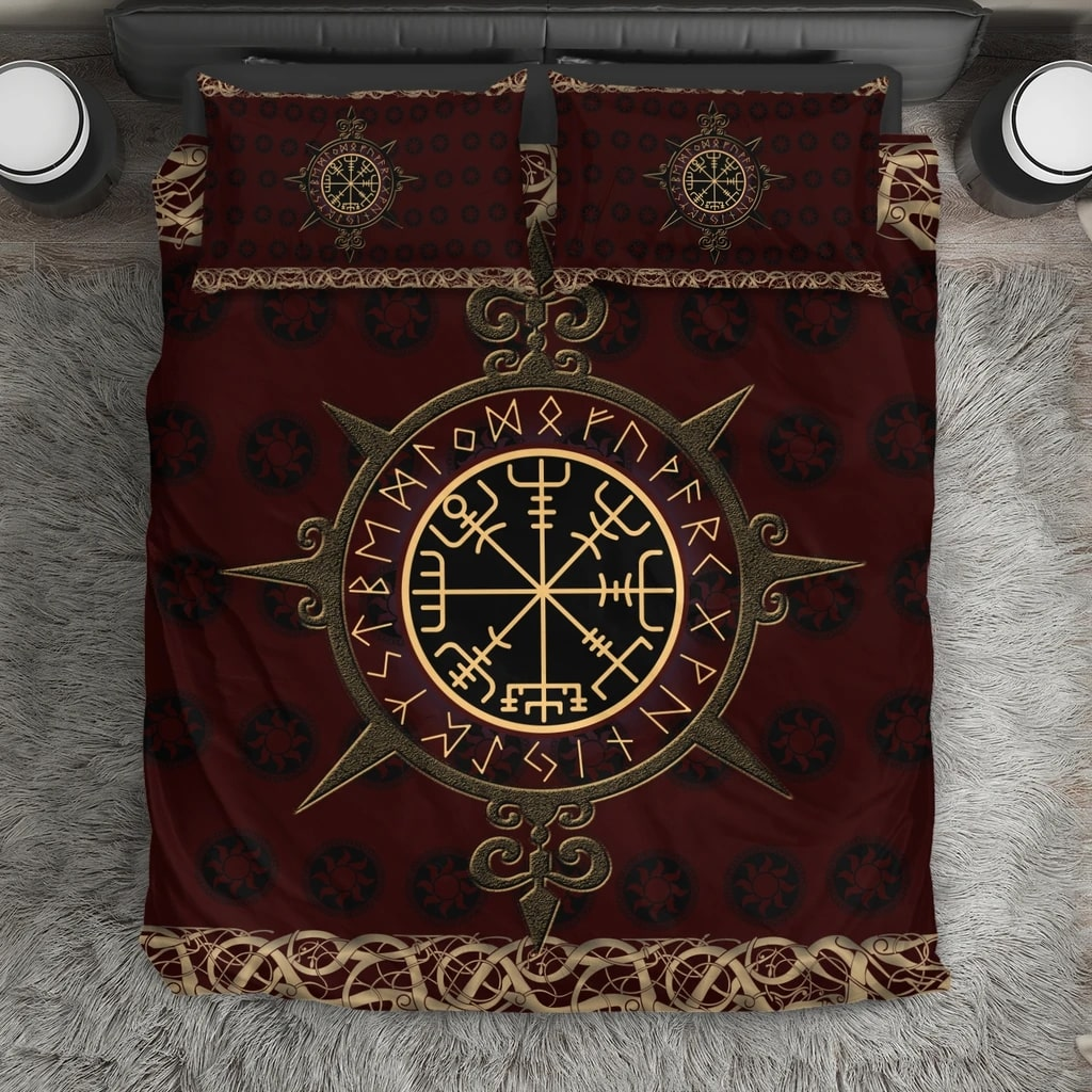 viking vegvisir symbols all over printed bedding set 2