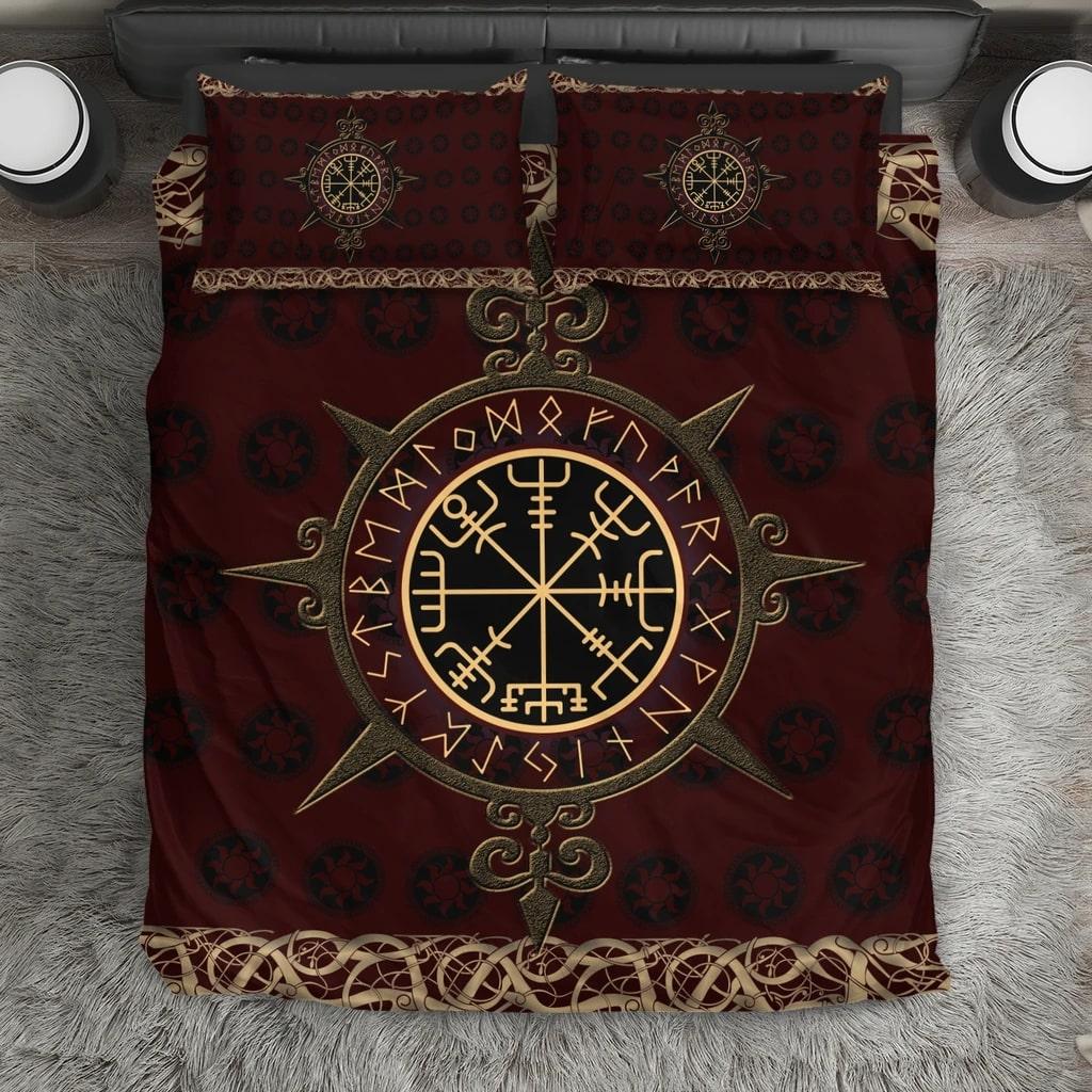 viking vegvisir symbols all over printed bedding set 3