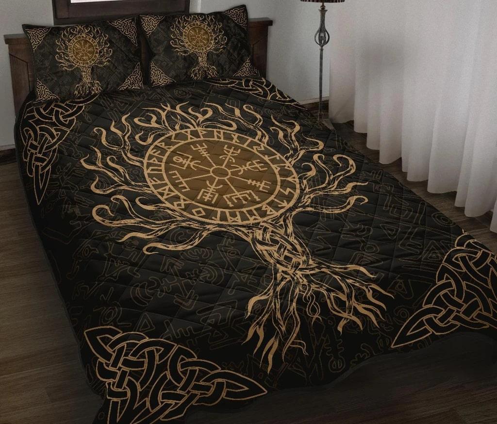 viking vegvisir tree of life all over printed bedding set 2