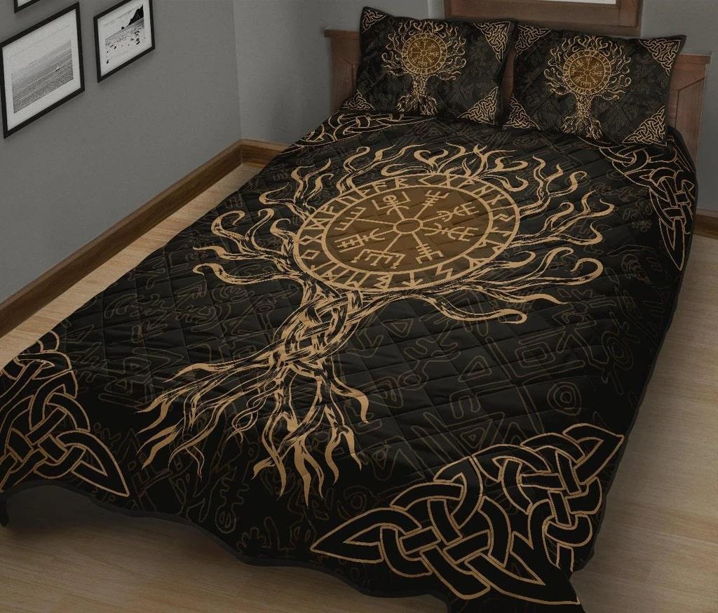 viking vegvisir tree of life all over printed bedding set 3