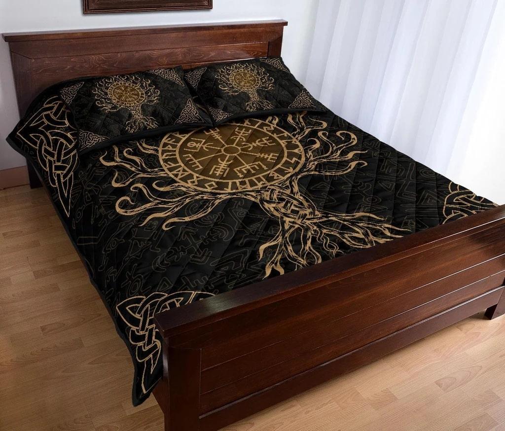 viking vegvisir tree of life all over printed bedding set 4