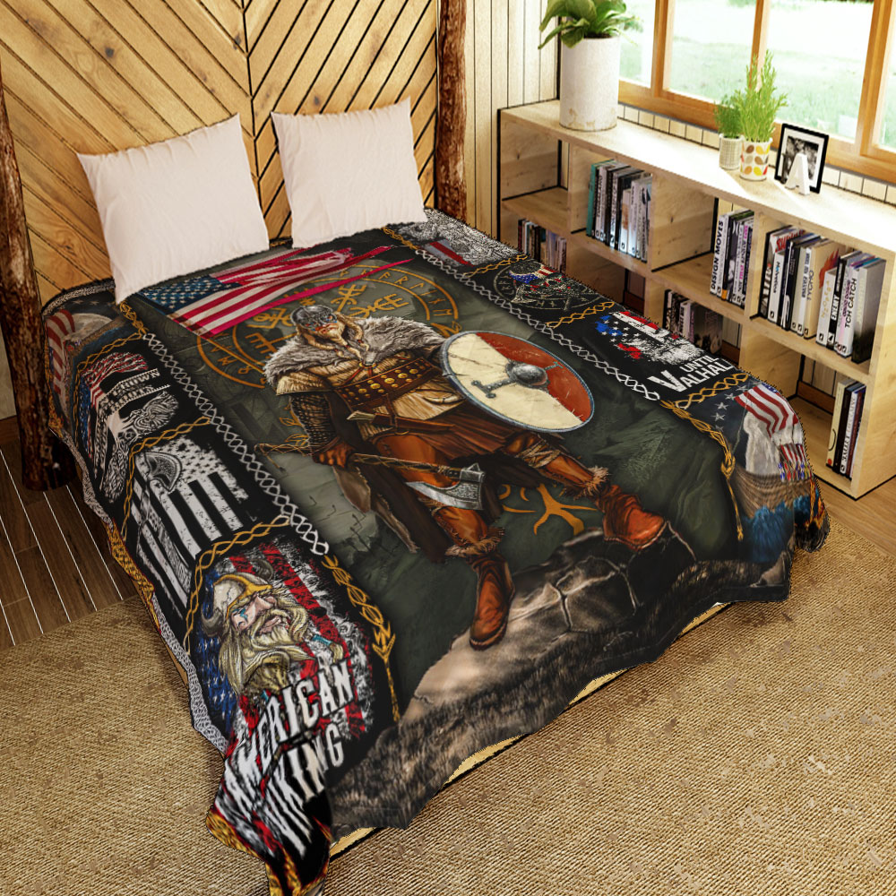 viking warrior american all over printed quilt 2