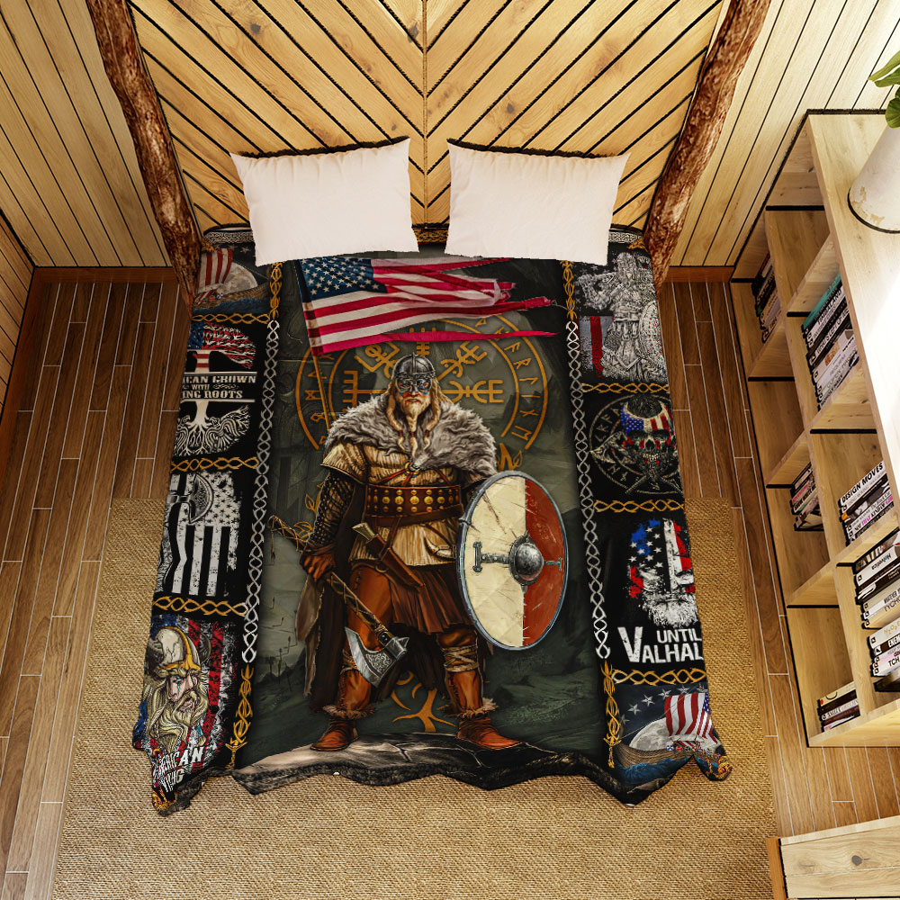viking warrior american all over printed quilt 3