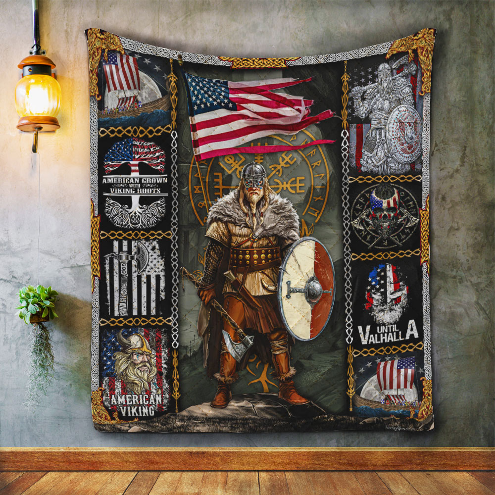 viking warrior american all over printed quilt 4