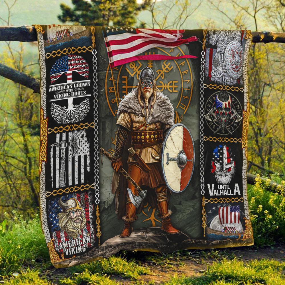 viking warrior american all over printed quilt 5