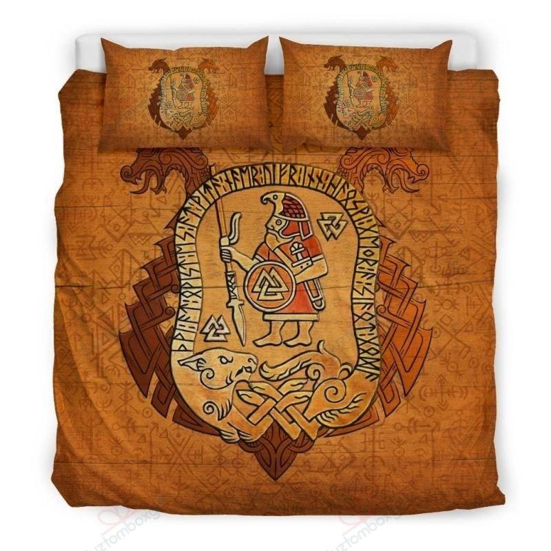 viking warrior valknut all over printed bedding set 3