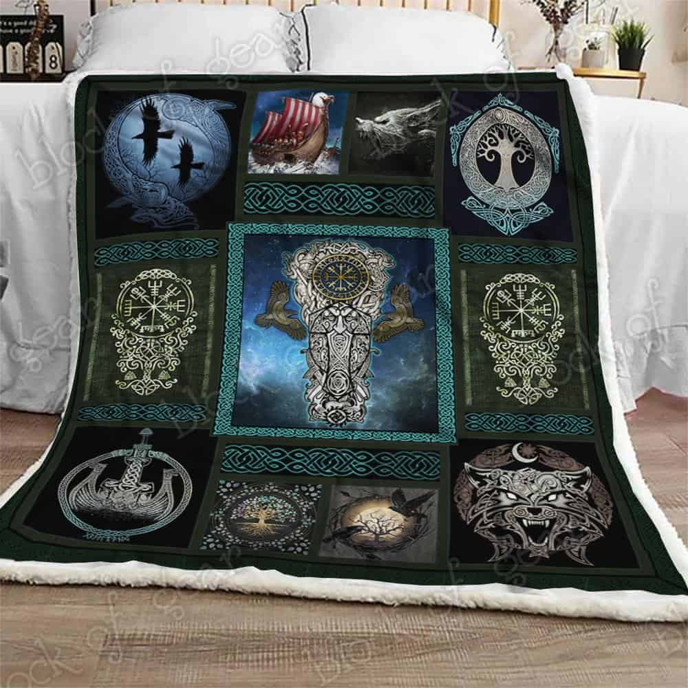 viking wolf and raven symbol all over printed blanket 3
