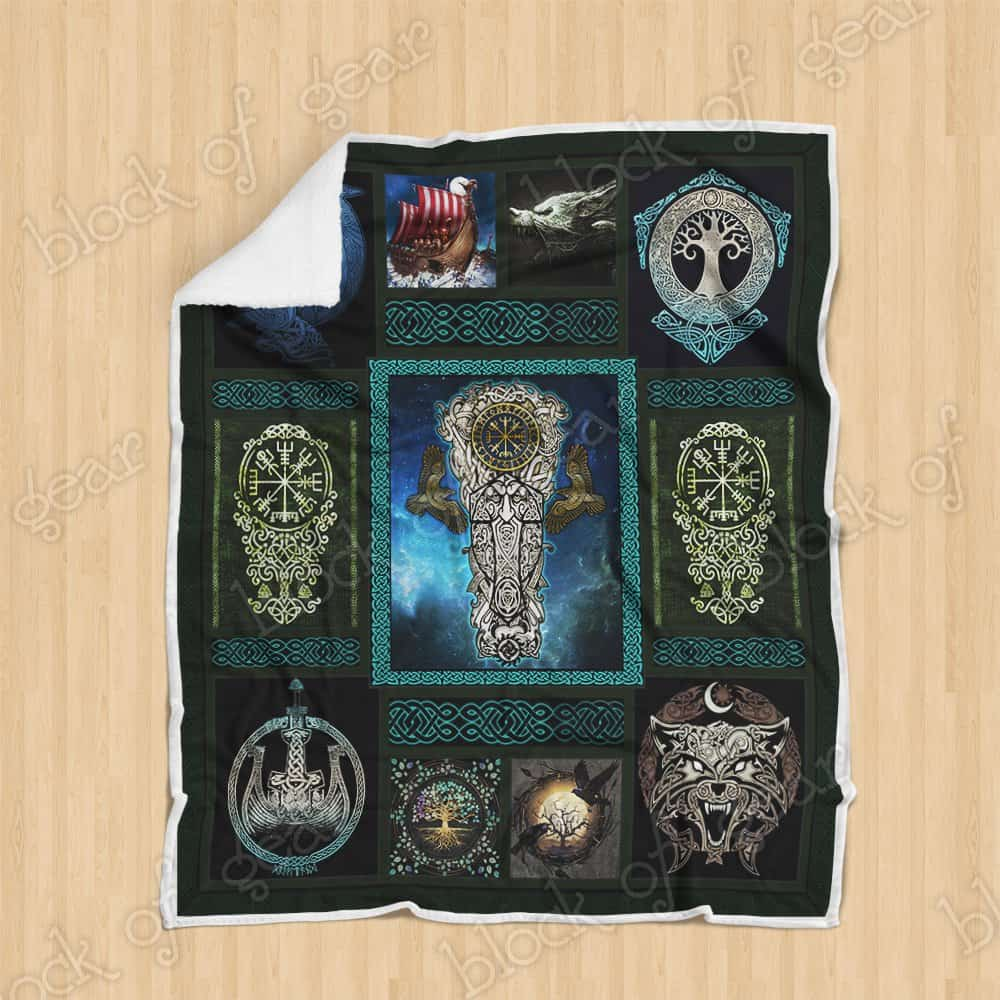 viking wolf and raven symbol all over printed blanket 4