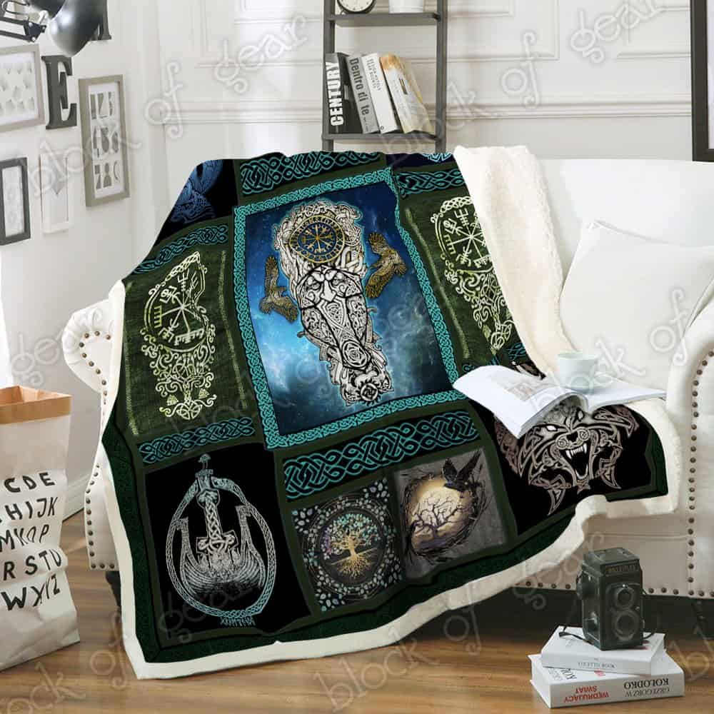 viking wolf and raven symbol all over printed blanket 5