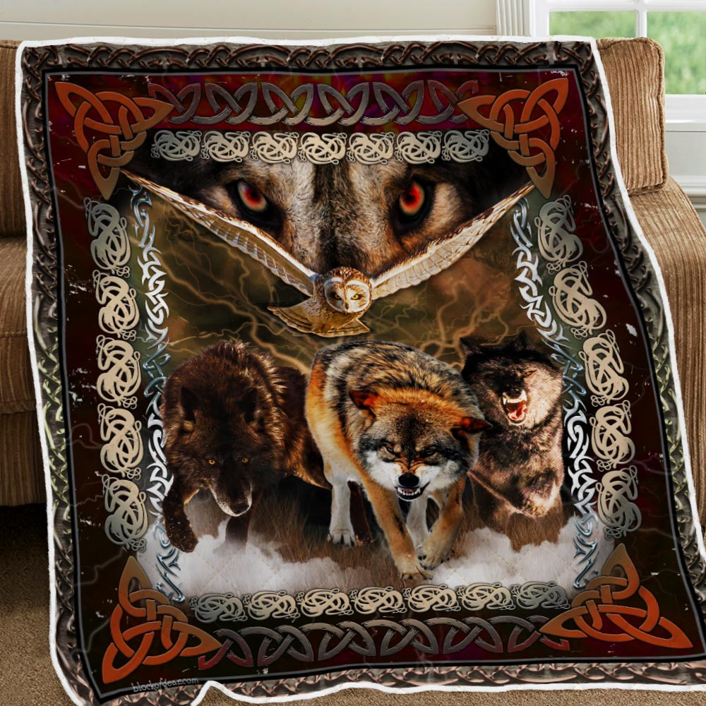 viking wolves and owls all over printed blanket 2