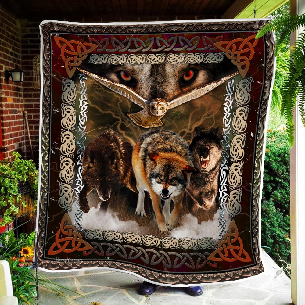 viking wolves and owls all over printed blanket 3