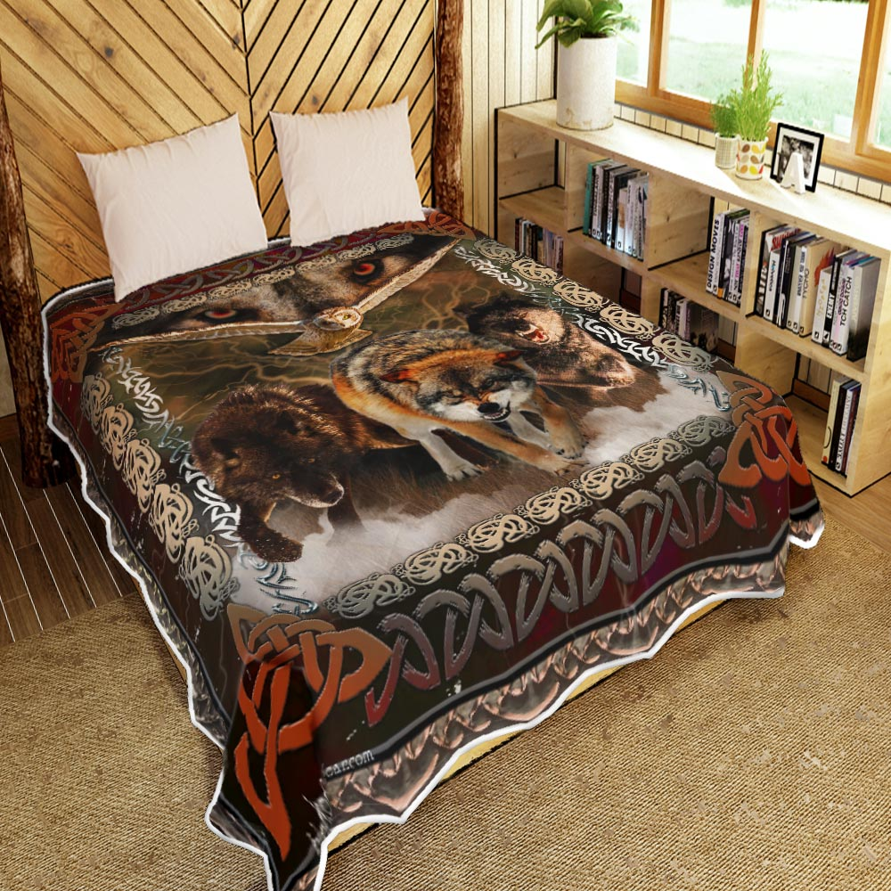 viking wolves and owls all over printed blanket 4