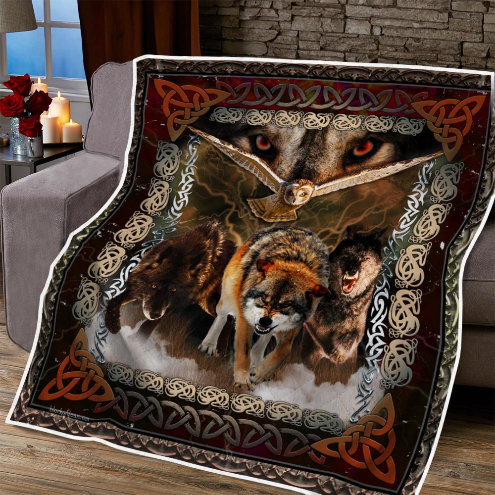 viking wolves and owls all over printed blanket 5