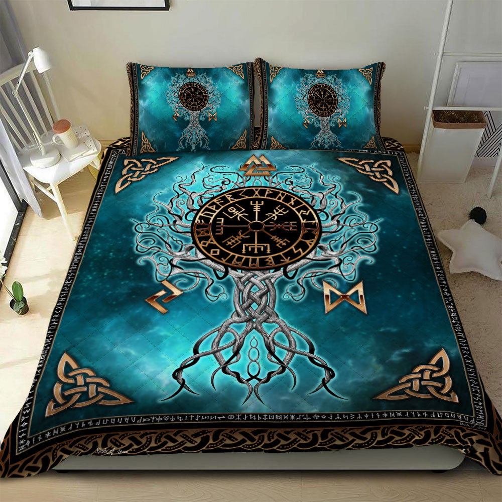 viking yggdrasil symbol all over printed bedding set 3