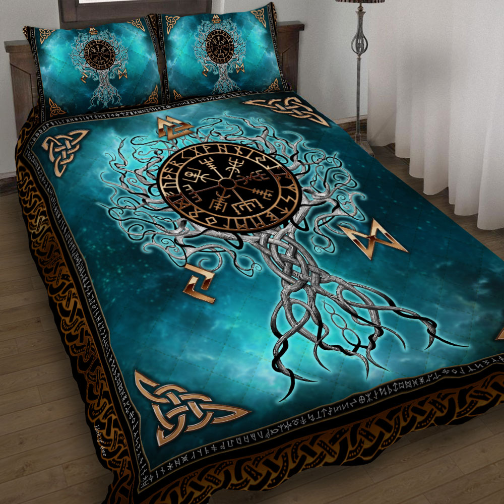 viking yggdrasil symbol all over printed bedding set 4