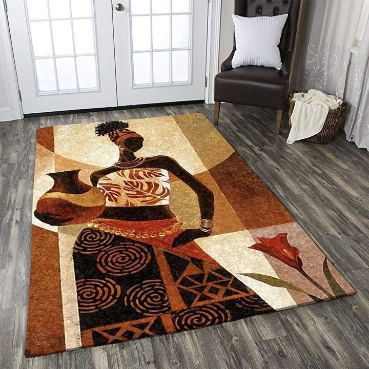 vintage african woman all over printed rug 2