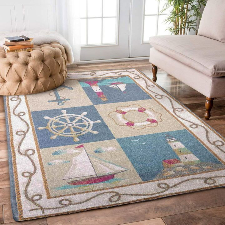 vintage anchor sailboat lighthouse all over printed rug 2