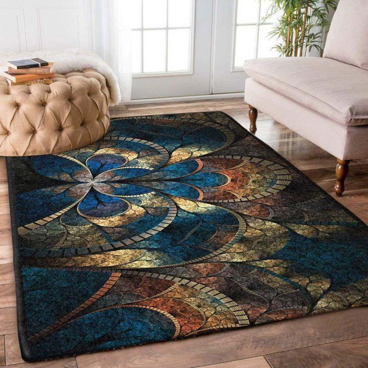 vintage floral fractal all over printed rug 2