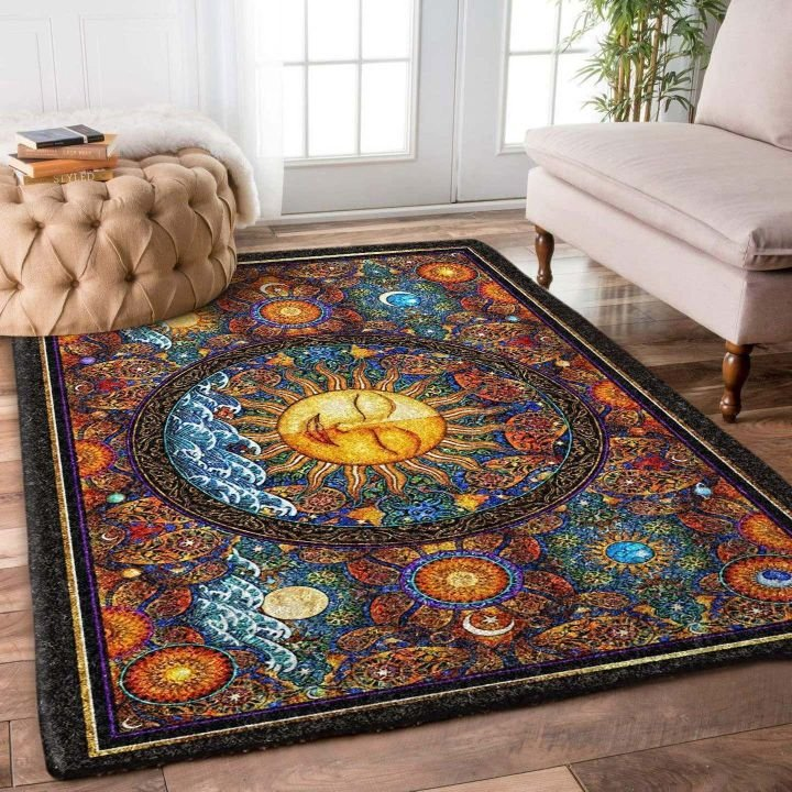 vintage flower and the sun hippie all over printed rug 4