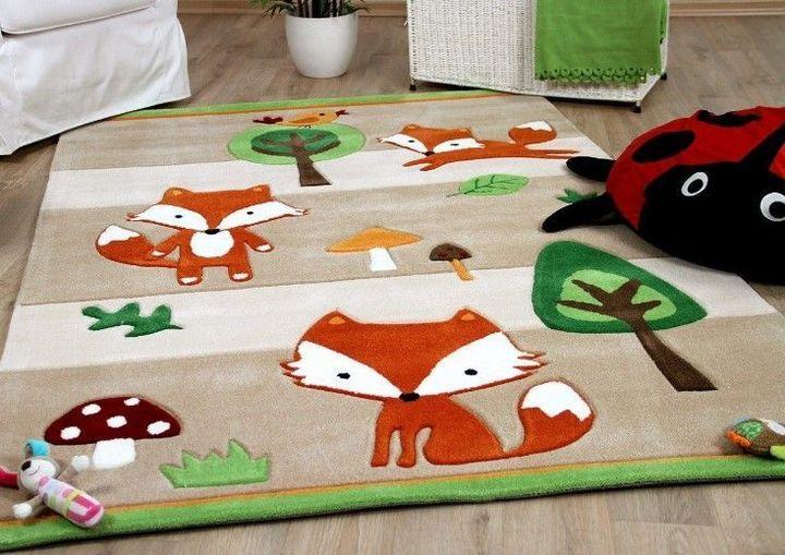 vintage fox woodland animals all over printed rug 2