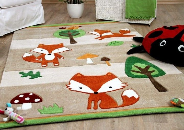 vintage fox woodland animals all over printed rug 3