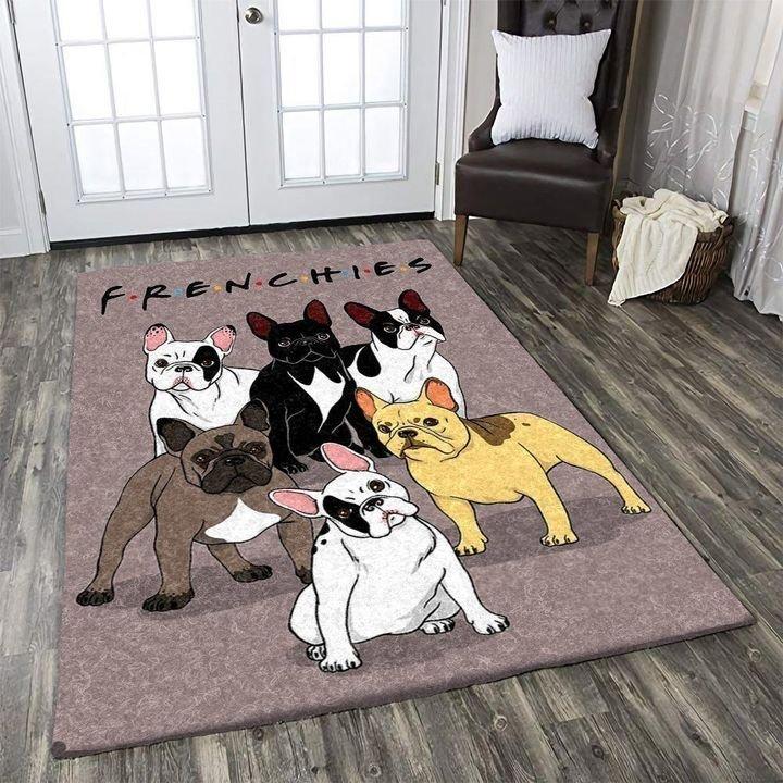 vintage french bulldog all over printed rug 4