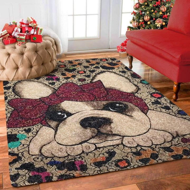 vintage frenchie bulldog all over printed rug 3