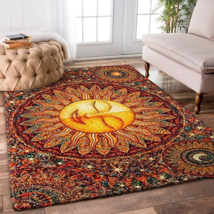 vintage hippie sun all over printed rug 4
