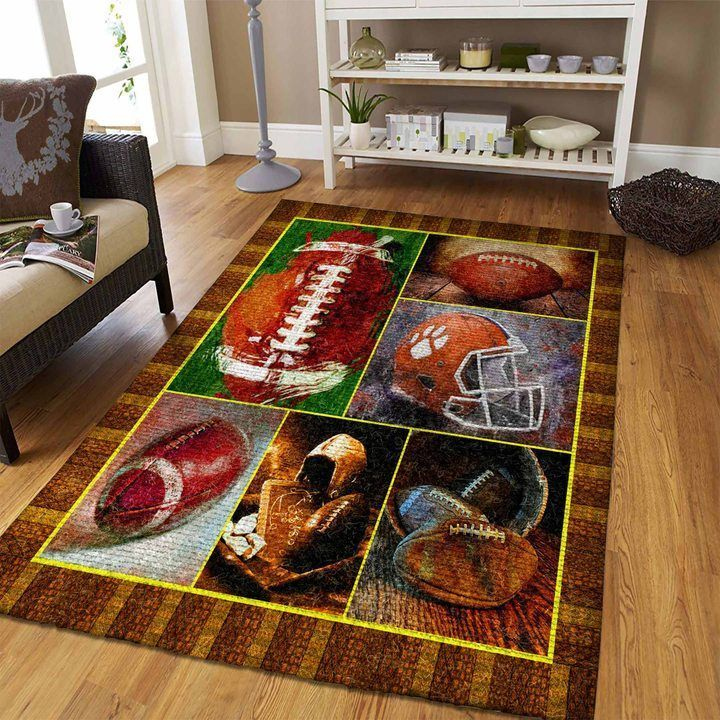 watercolor american football all over printed rug 4