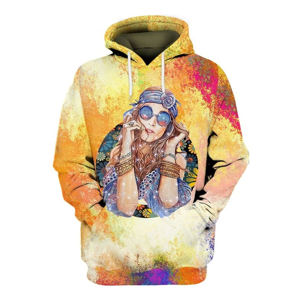 watercolor hippie girl over printed hoodie
