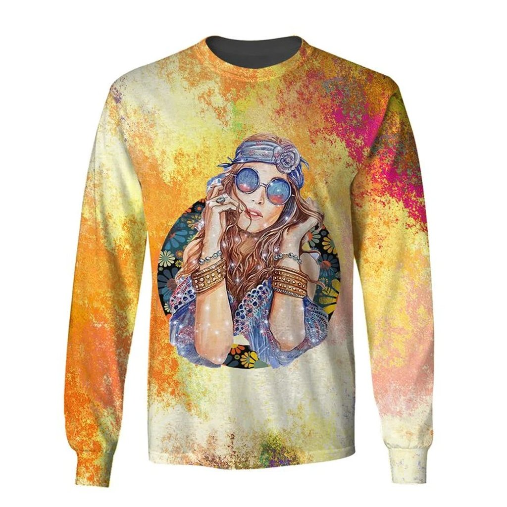 watercolor hippie girl over printed sweatshirt
