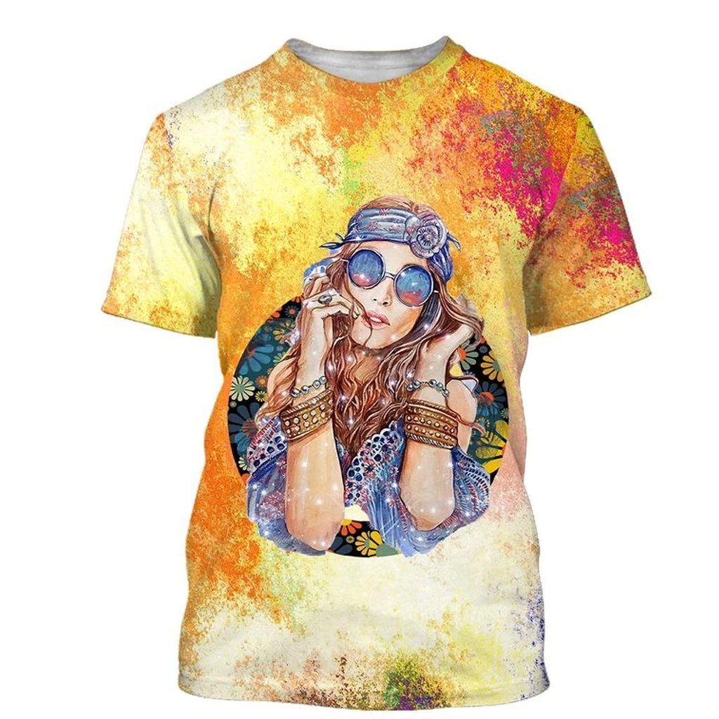 watercolor hippie girl over printed tshirt