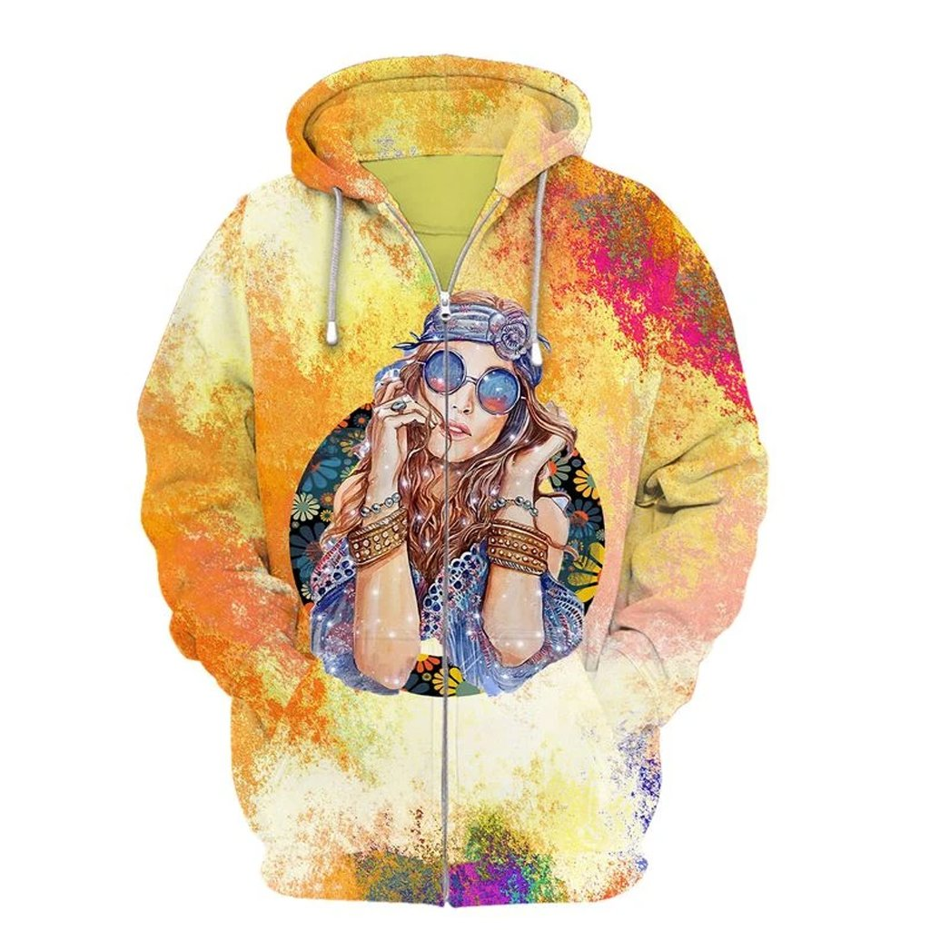 watercolor hippie girl over printed zip hoodie