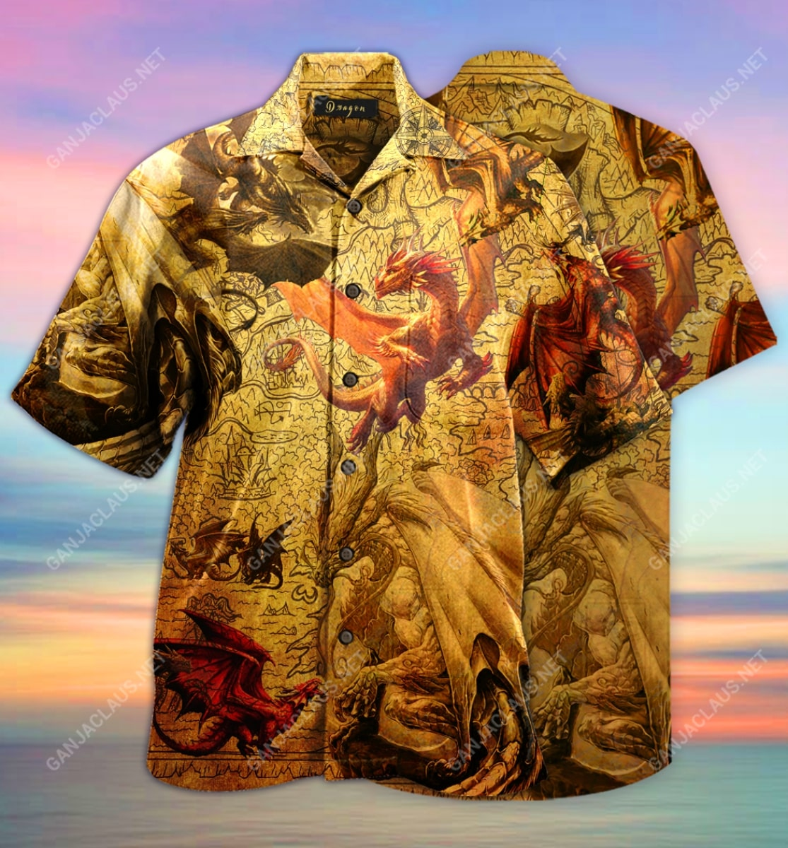 world map dragon full printing hawaiian shirt 3