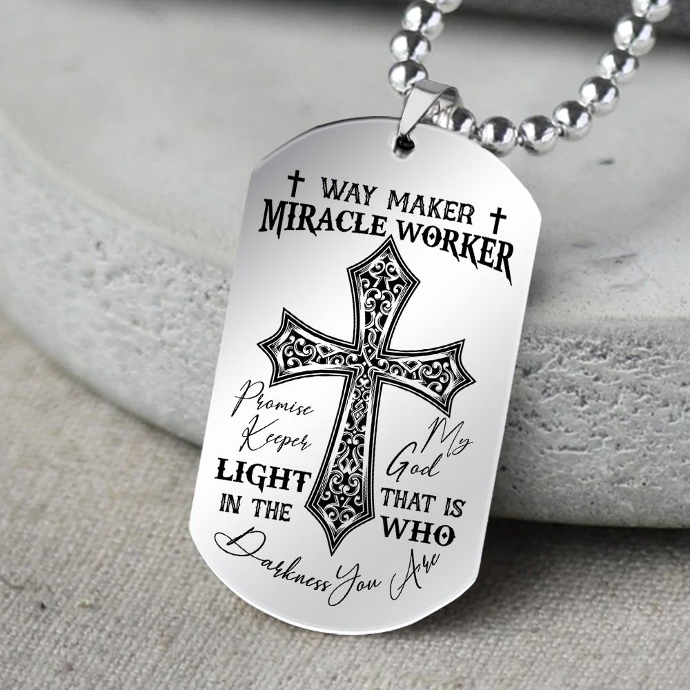 Jesus cross way maker miracle worker promise keeper light in the darkness dog tag 4