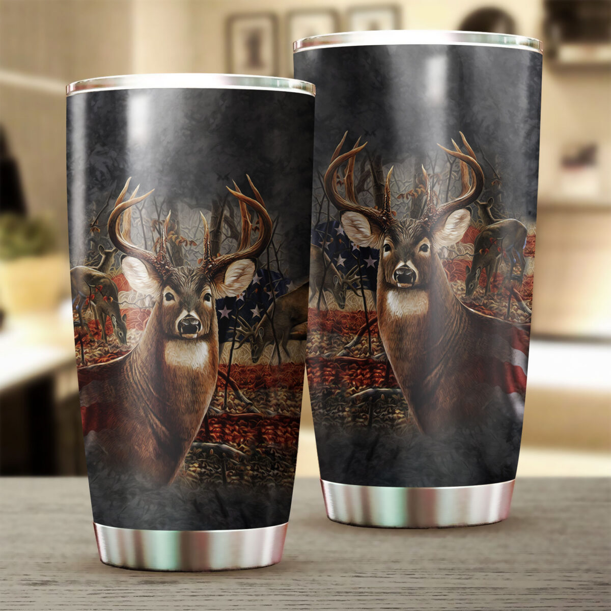 american flag deer hunting all over print stainless steel tumbler 2