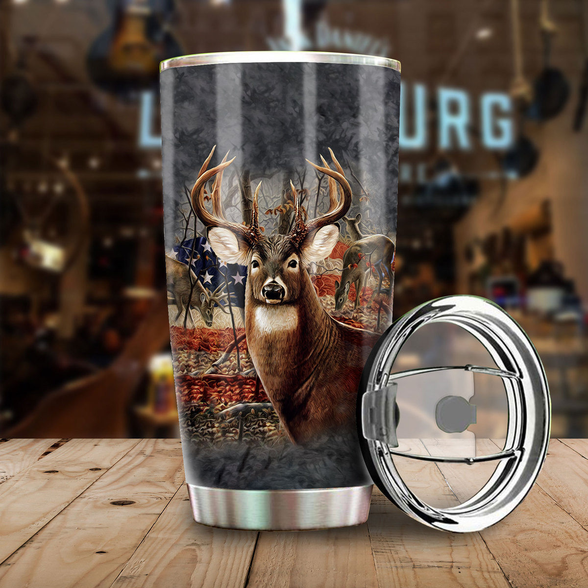 american flag deer hunting all over print stainless steel tumbler 3