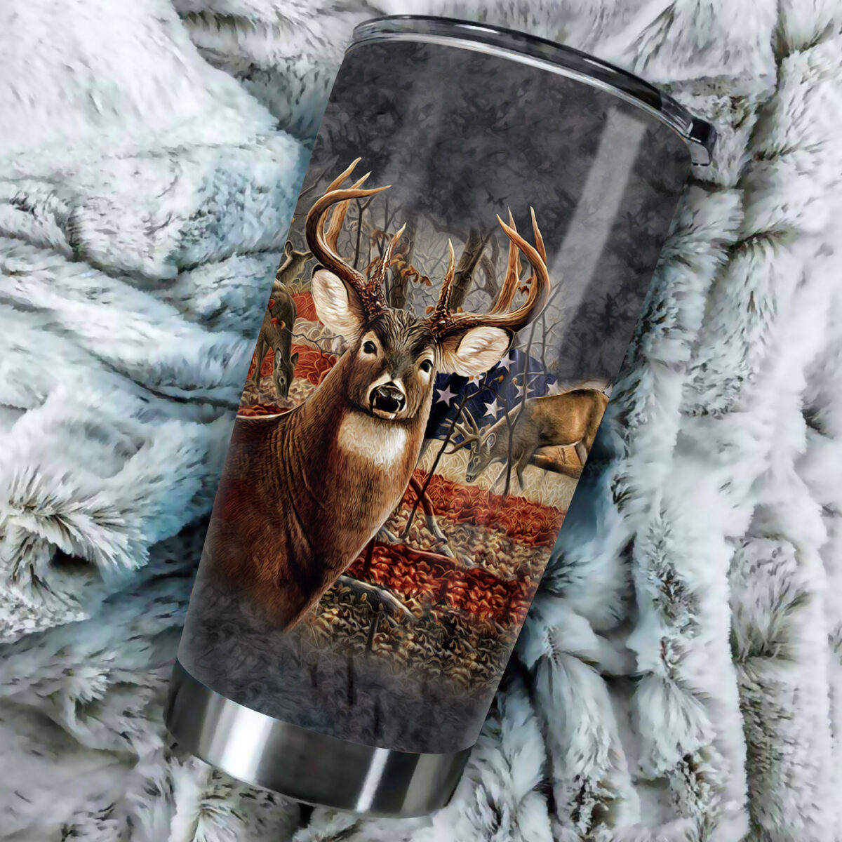 american flag deer hunting all over print stainless steel tumbler 5