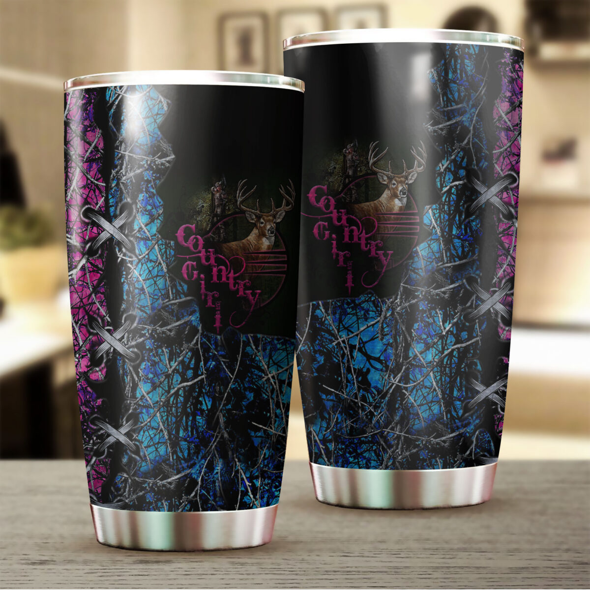 camo country girl hunting all over print stainless steel tumbler 2
