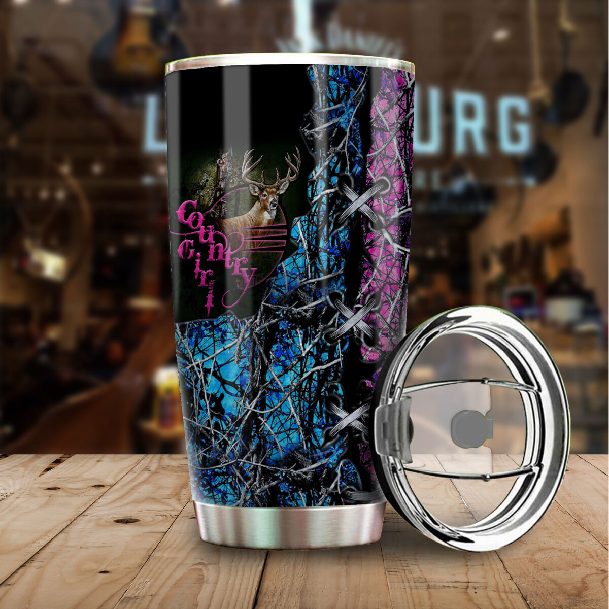 camo country girl hunting all over print stainless steel tumbler 3