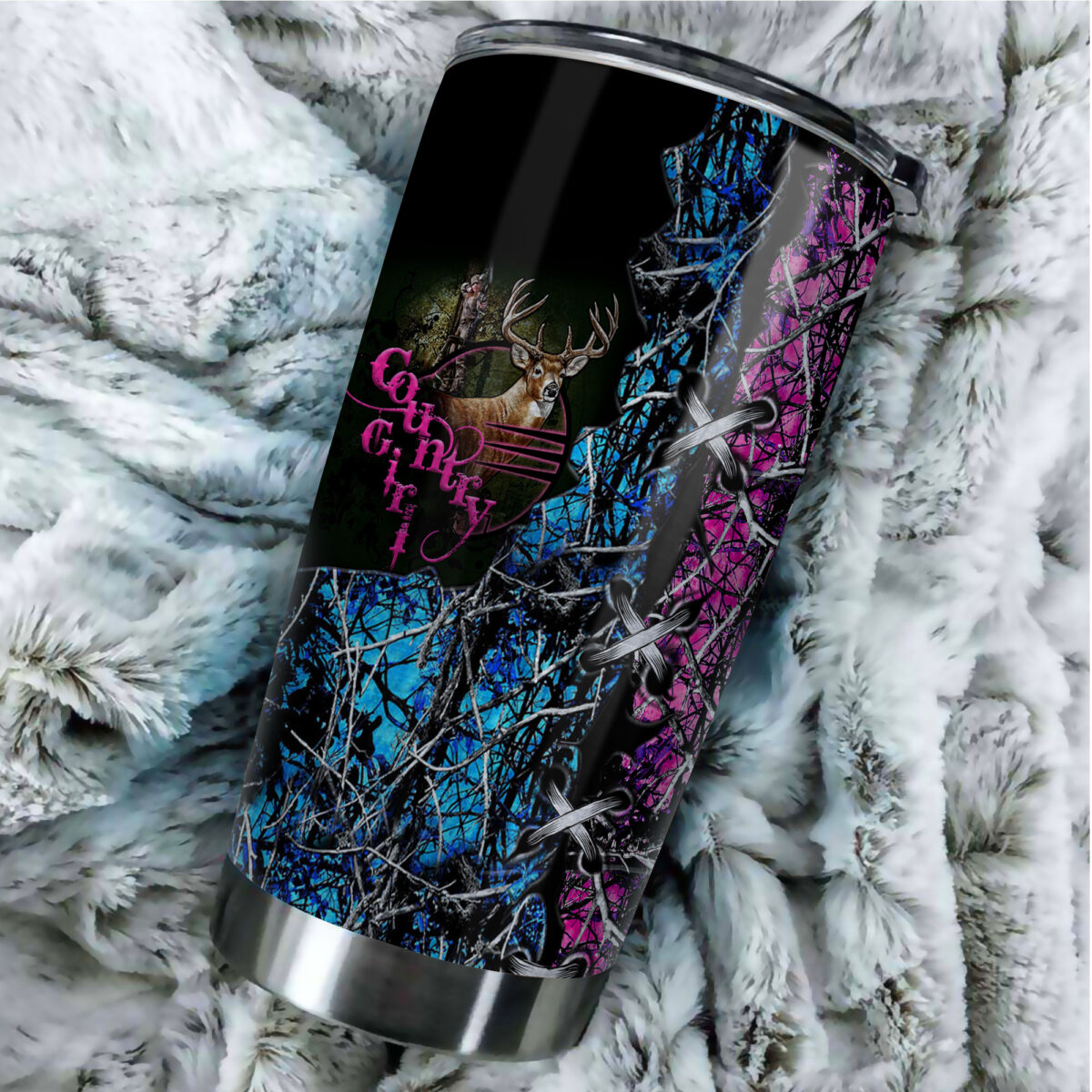 camo country girl hunting all over print stainless steel tumbler 4