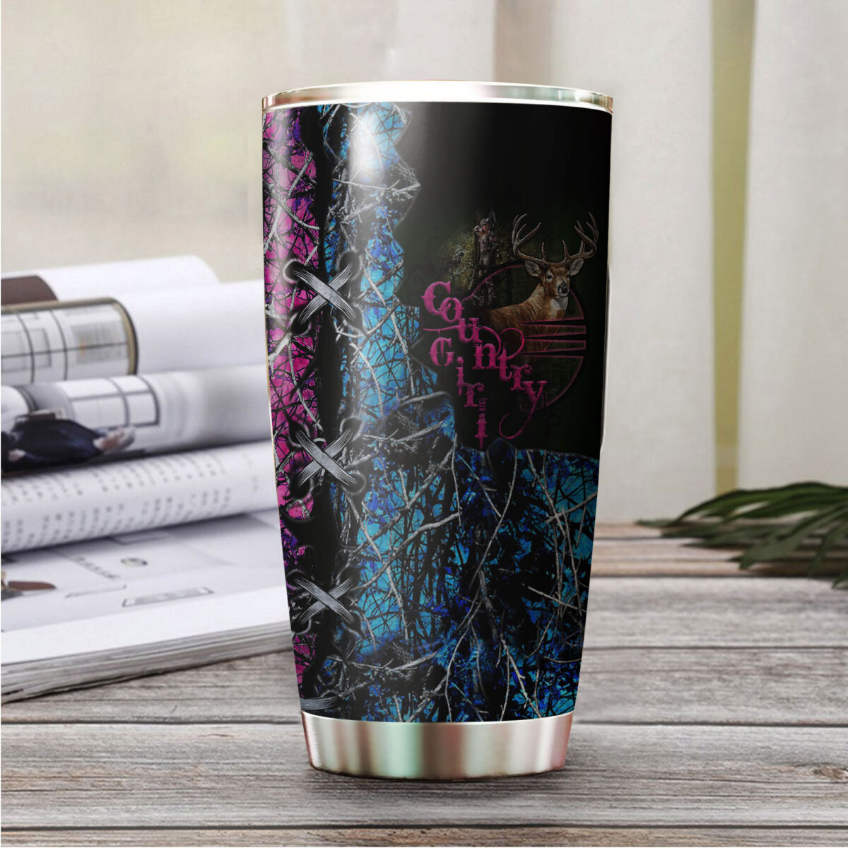 camo country girl hunting all over print stainless steel tumbler 5