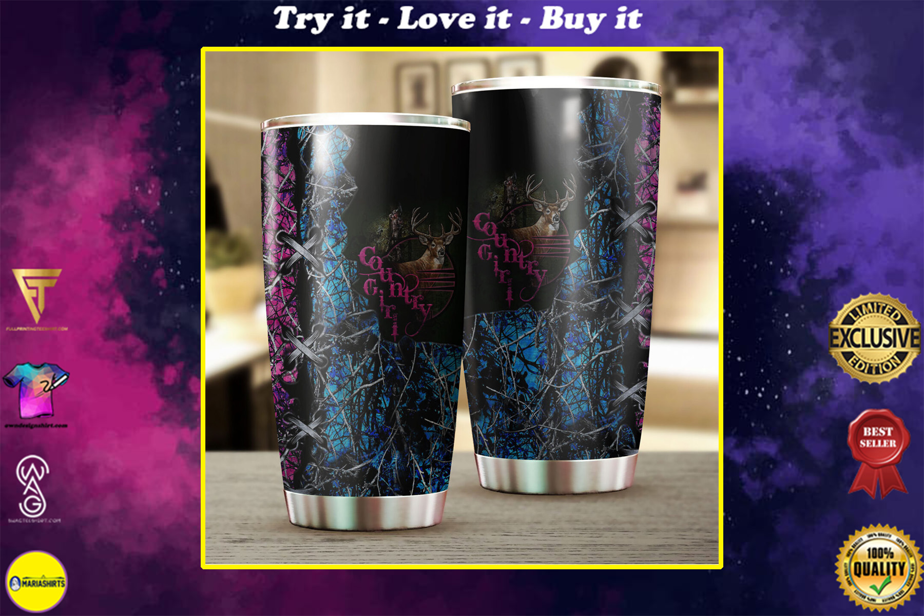 camo country girl hunting all over print stainless steel tumbler